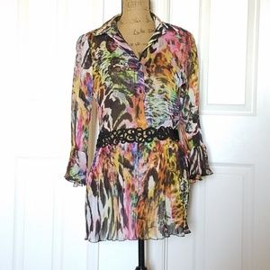 🆕️Alberto Makali watercolor top, lace accent NWT